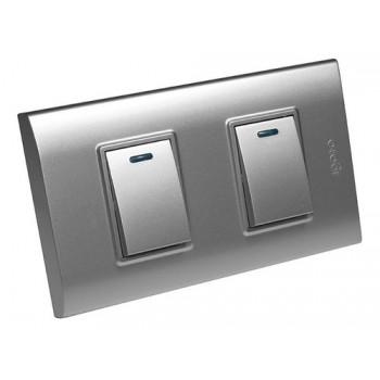 Interruptor doble color plata